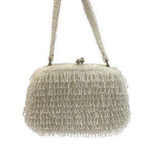 White Ivory beaded frame evening bag